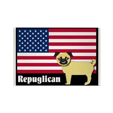 Republican pug Repuglican Rectangle Magnet