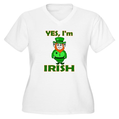 Yes I'm Irish Women's Plus Size V-Neck T-Shirt