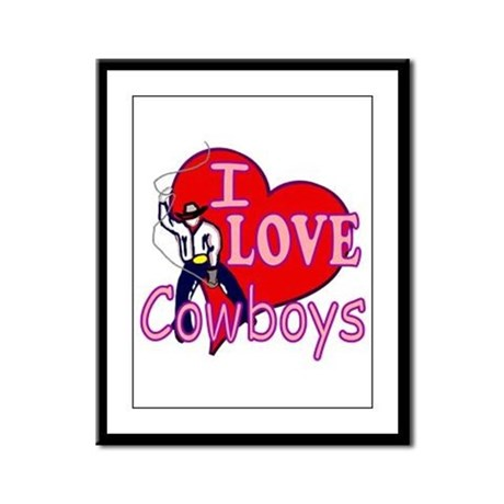 I Love Cowboys Framed Panel Print