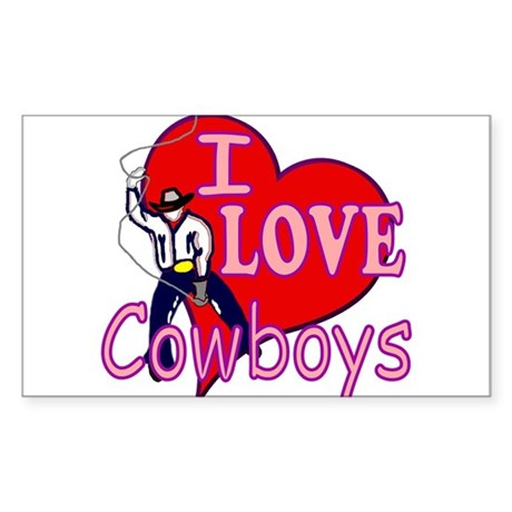 I Love Cowboys Rectangle Sticker