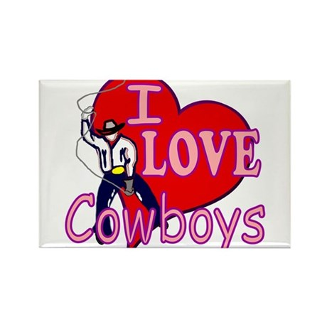I Love Cowboys Rectangle Magnet