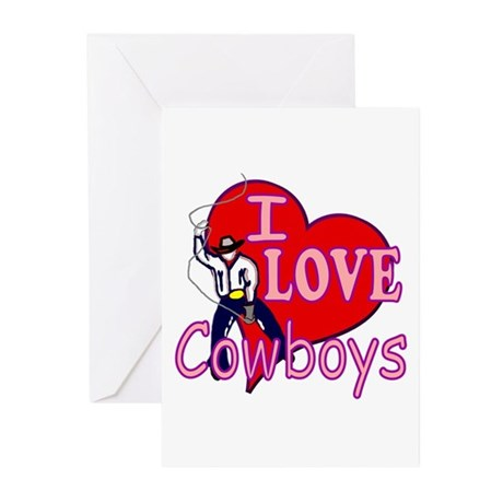 I Love Cowboys Greeting Cards (Pk of 10)
