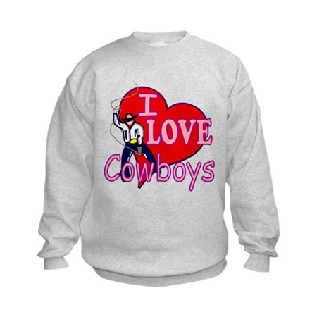 I Love Cowboys Kids Sweatshirt