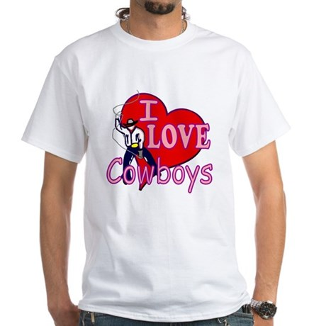 I Love Cowboys White T-Shirt