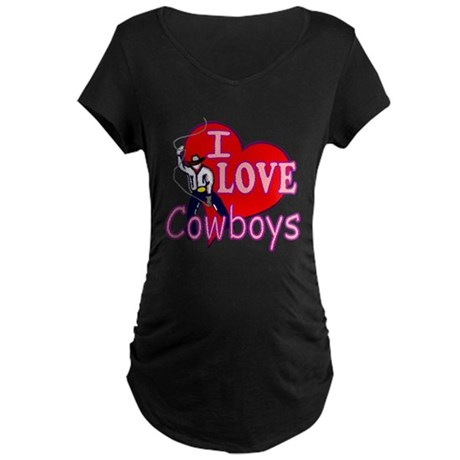 I Love Cowboys Maternity Dark T-Shirt
