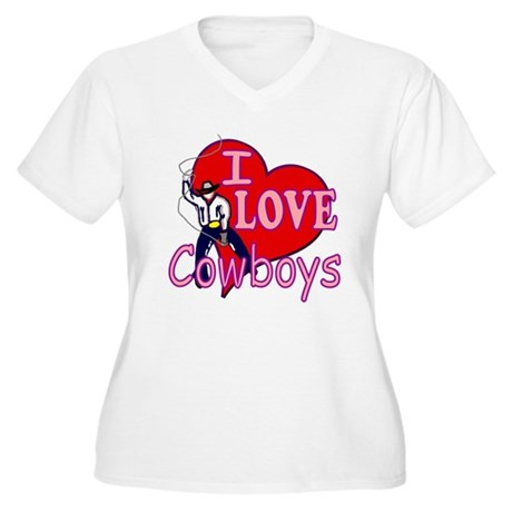 I Love Cowboys Women's Plus Size V-Neck T-Shirt