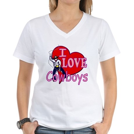 I Love Cowboys Women's V-Neck T-Shirt