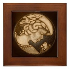Lillian cameo antique sepia Framed Tile
