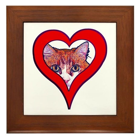 I love my cat Framed Tile