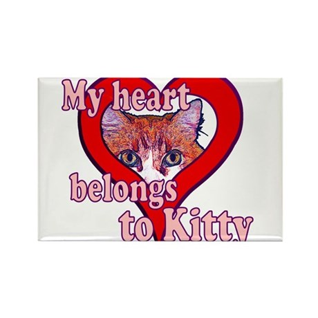 My heart belongs to kitty Rectangle Magnet