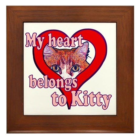 My heart belongs to kitty Framed Tile