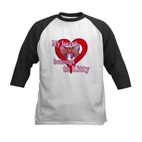 My heart belongs to kitty Kids Baseball Jersey