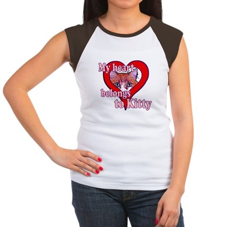 My heart belongs to kitty Women's Cap Sleeve T-Shi
