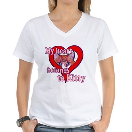 My heart belongs to kitty Women's V-Neck T-Shirt