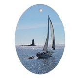Sailboat off Whaleback Light Keepsake (Oval)