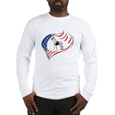American Flag Great Dane Long Sleeve T-Shirt