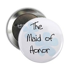 Blue Flowers Maid of Honor Button