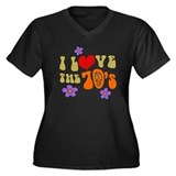 I Love The 70's Women's Plus Size V-Neck Dark T-Sh
