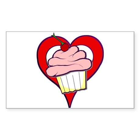 Valentine Cupcake Rectangle Sticker