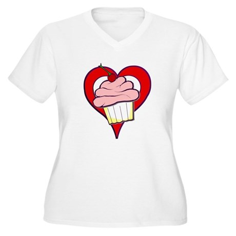 Valentine Cupcake Women's Plus Size V-Neck T-Shirt