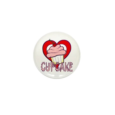 Valentine Cherry Cupcake Mini Button