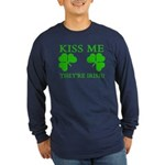Naughty Kiss Me They're Irish Long Sleeve Dark T-S