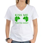 Naughty Kiss Me They're Irish Women's V-Neck T-Shi