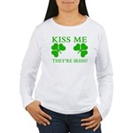 Naughty Kiss Me They're Irish Women's Long Sleeve