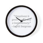 Happiness is good health Wall Clock