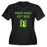 Make Music Not War Women's Plus Size V-Neck Dark T