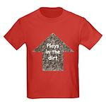 Plays in the dirt Kids Dark T-Shirt