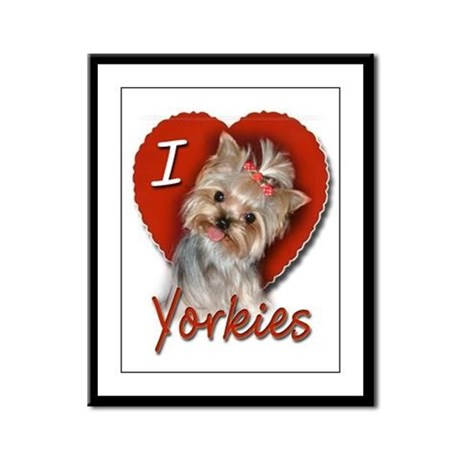 I Love Yorkies Framed Panel Print