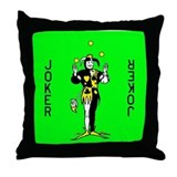 "Green ""Joker"" Throw Pillow"