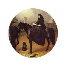 "Queen Victoria on a horse. 3.5"" Button"
