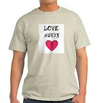 LOVE HURTS BROKEN PINK HEART Ash Grey T-Shirt