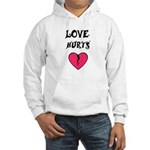 LOVE HURTS BROKEN PINK HEART Hooded Sweatshirt