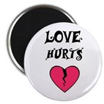 LOVE HURTS BROKEN PINK HEART Magnet