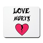 LOVE HURTS BROKEN PINK HEART Mousepad