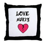 LOVE HURTS BROKEN PINK HEART Throw Pillow