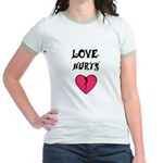 LOVE HURTS BROKEN PINK HEART Jr. Ringer T-Shirt