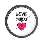LOVE HURTS BROKEN PINK HEART Wall Clock