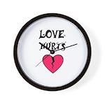 LOVE HURTS BROKEN PINK HEART Wall Clock