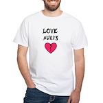 LOVE HURTS BROKEN PINK HEART White T-Shirt