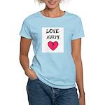 LOVE HURTS BROKEN PINK HEART Women's Pink T-Shirt