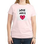 LOVE HURTS BROKEN PINK HEART Women's Pink T-Shirt