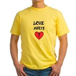 LOVE HURTS BROKEN PINK HEART Yellow T-Shirt