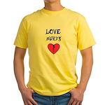 LOVE HURTS BROKEN PINK HEART Yellow T-Shirt