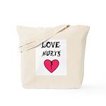 LOVE HURTS Tote Bag  WITH SAD DOG AND TEARDROP