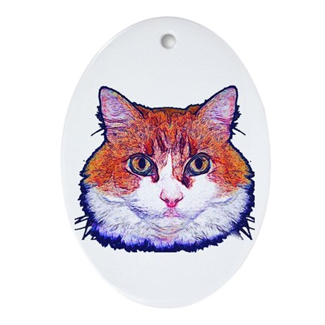 Pretty Kitty Oval Ornament