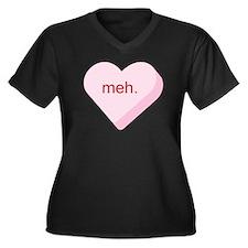 Meh Heart Women's Plus Size V-Neck Dark T-Shirt